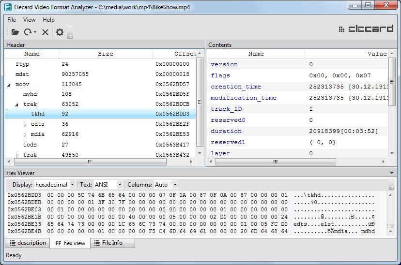 Video Format Analyzer   Elecard: Video Compression Guru
